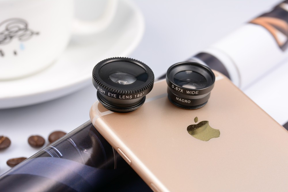 3 in 1 Fish Eye Wide Angle Macro Fisheye Mobile Phone Lens For iPhone Samsung HTC (MA-010)
