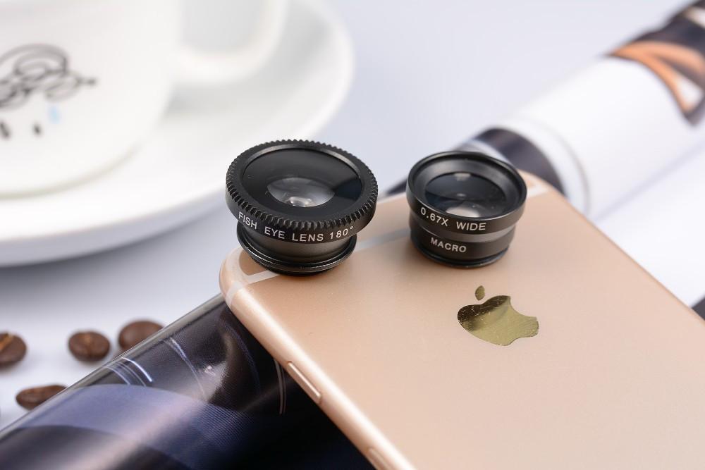 3 in 1 Fish Eye Wide Angle Macro Fisheye Mobile Phone Lens For iPhone Samsung HTC