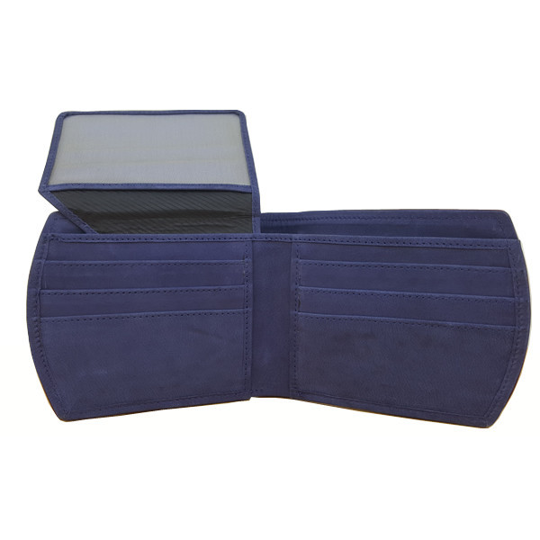 11 Pockets Dark Blue Nubuck Style (Velvet Type) Leather Wallet For Men (Limited Edition) (MAW-NB-01)