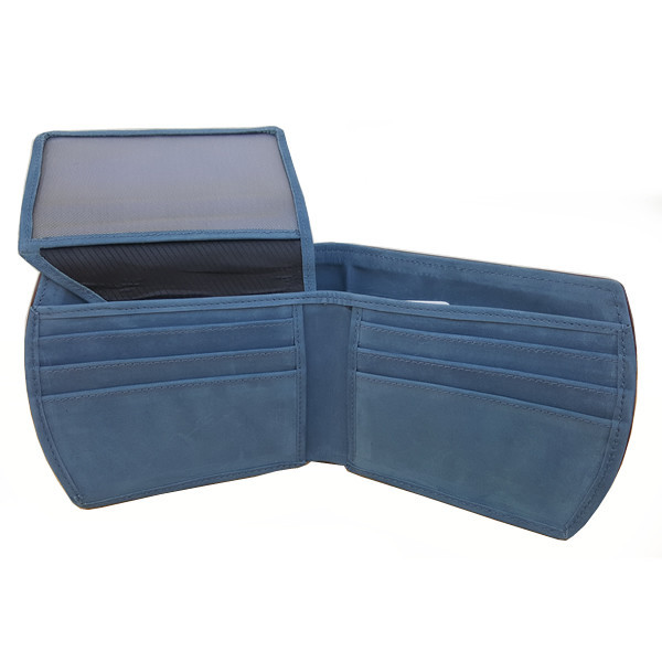 11 Pockets Light Blue Nubuck Style (Velvet Type) Leather Wallet For Men (Limited Edition) (MAW-NB-03)