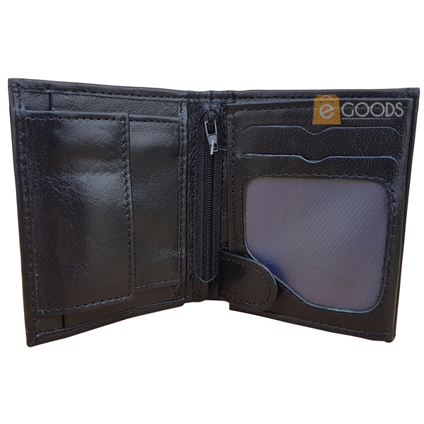 15 Pockets Black Leather Wallet for Men (MAW-SJ4S)