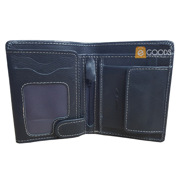 19 Pockets Navy Blue Leather Wallet for Men (MAW-JS4-BL)