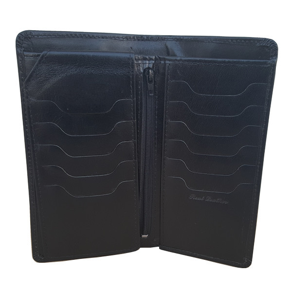 23 Pockets Black Shiny Long Leather Wallet for Men (MAW-DC2-SB)