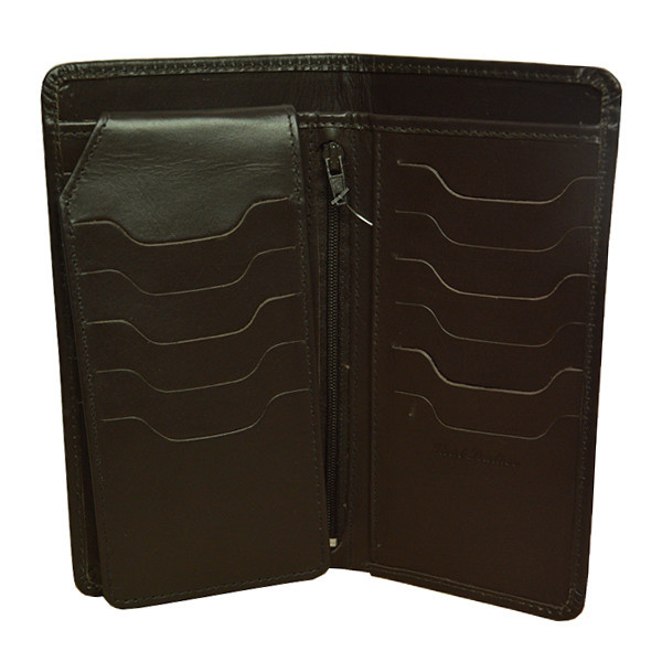 23 Pockets Chocolate Brown Long Leather Wallet for Men (MAW-DC2-CB)