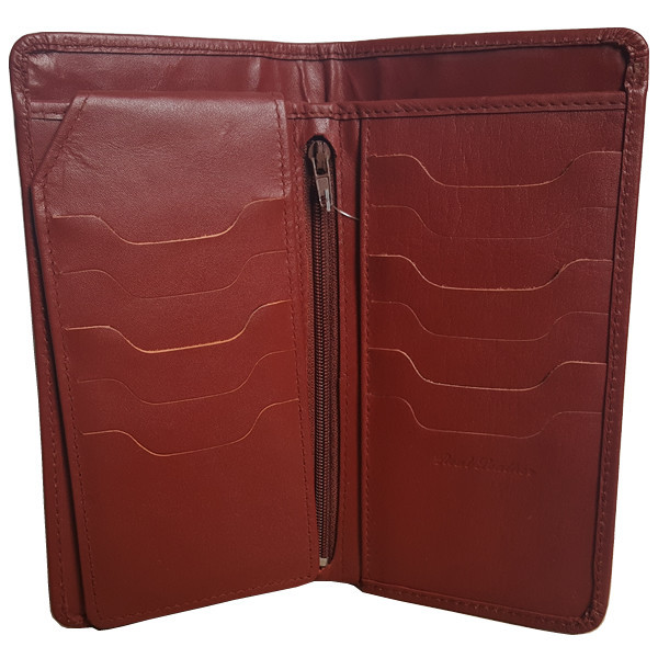 23 Pockets Reddish Brown Long Leather Wallet for Men (MAW-DC2-RB)