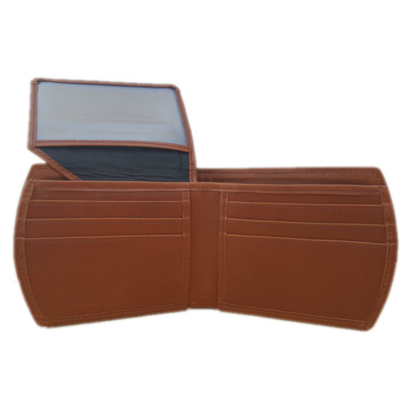 Curved Edges Light Brown Leather Wallet with Maroon Borders For Men (Limited Edition) (MAW-RD-LBR)
