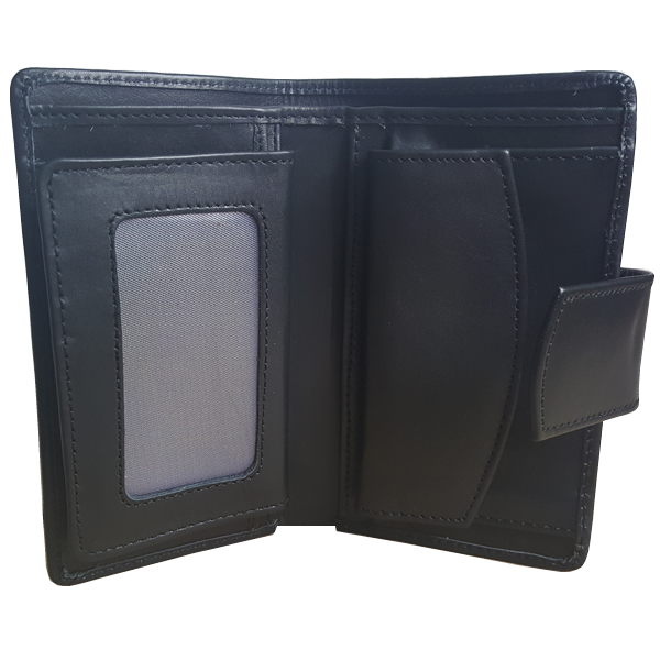 14 Pockets Black Leather Wallet For Men (MAW-DC4-SB)