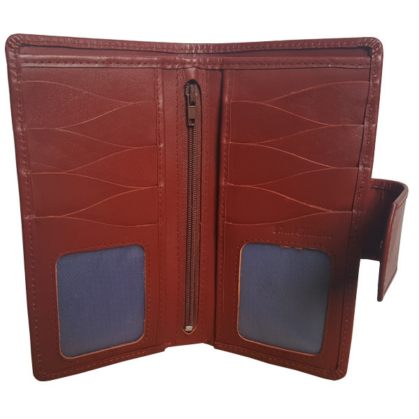19 Pockets Reddish Brown Long Wallet with Closing Strap for Men (MAW-DC7-RB)