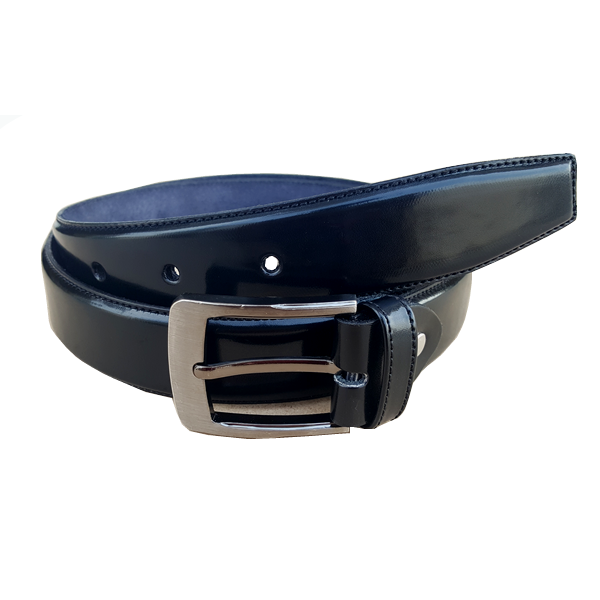 Formal Patent Leather Belt with Simple Greyish Silver Buckle