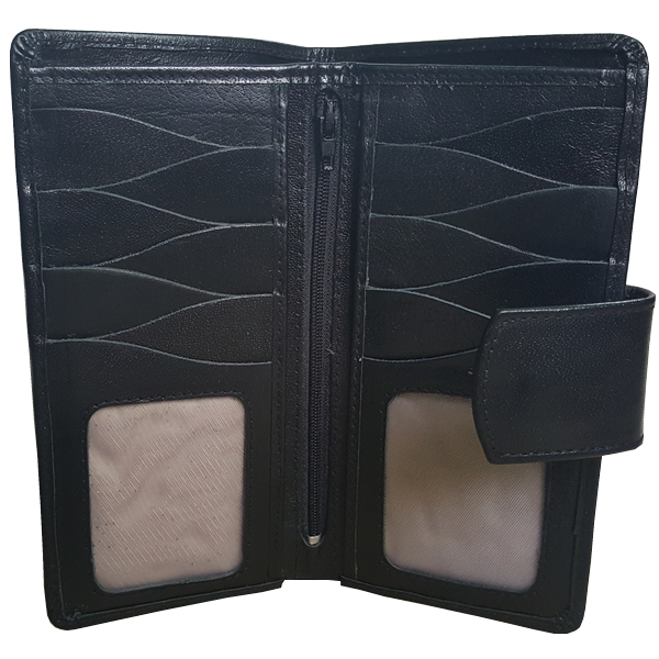 DC7 - 19 pockets Black leather wallet for men with strap closure