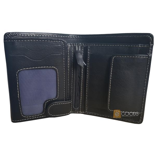 19 Pockets Black Shiny Leather Wallet for Men (MAW-JS4-SB)