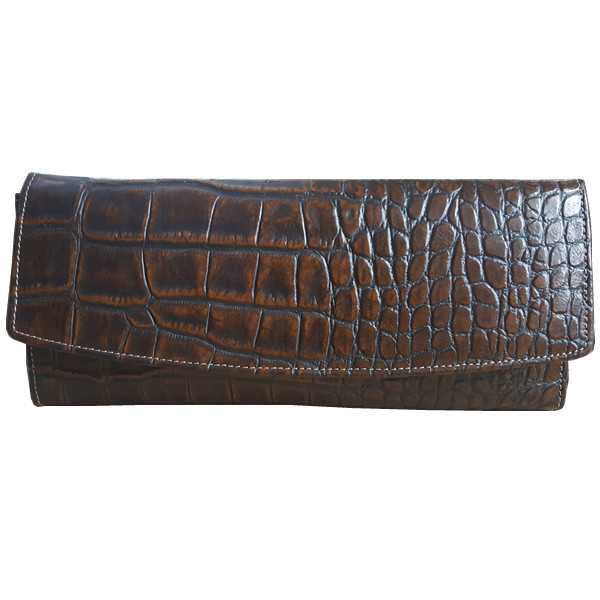 Crockodile Style Leather Clutch for Women