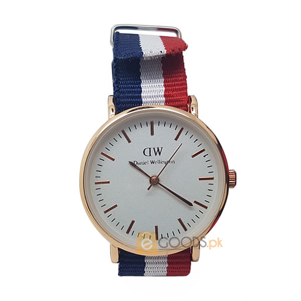Daniel wellington (DW) Women Golden Swiss Quartz Watch with Striped Strap