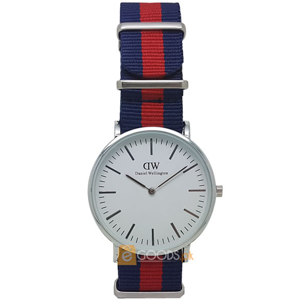 Daniel wellington (DW) Mens Silver Swiss Quartz Watch with Striped Strap