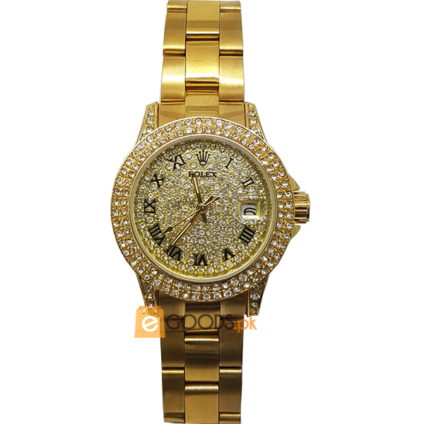 Rolex Golden Mens Shiny Golden Strap and Diamonds Bezel Watch