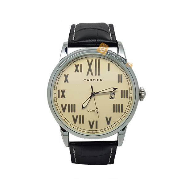 Cartier Silver Mens Watch with Black Strap