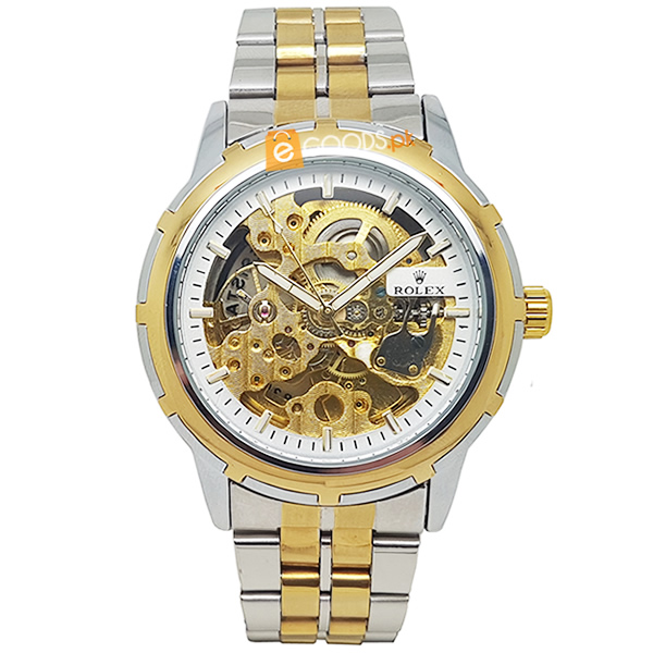 Rolex Elegant Mens Golden Skelton Watch with Golden Dial and Golden Strap