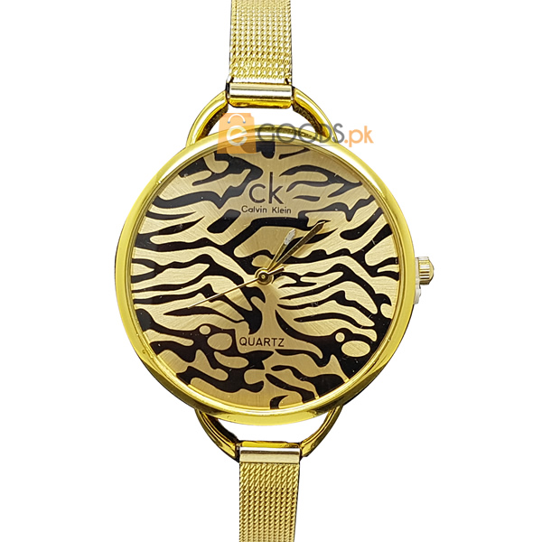 Chanel Golden Cheetah Women Swiss Quartz Watch with Golden Strap