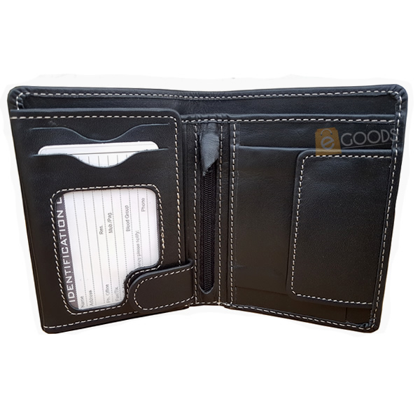 19 Pockets Black Matte Leather Wallet for Men (MAW-JS4-BK)