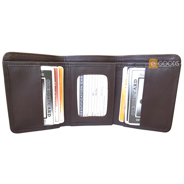 Round Edges Tri-Fold Leather Wallet for Men