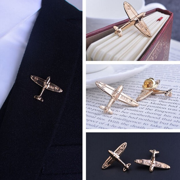 Unisex Aircraft Pair of Brooch Pins