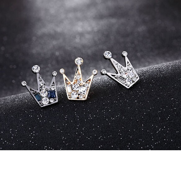 Unisex Elegant Crystal Crown Brooch Pins