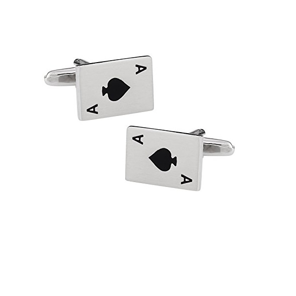 Cards Spade Rectangular Cufflinks for Men