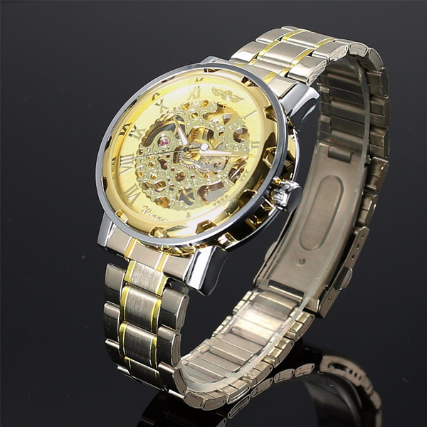 Winner Automatic Skeleton Mechanical Transparent Stainless Steel Watch with Chain