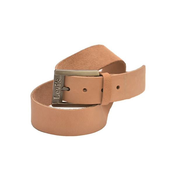 Casual Leather Belt with Greyish Silver Buckle