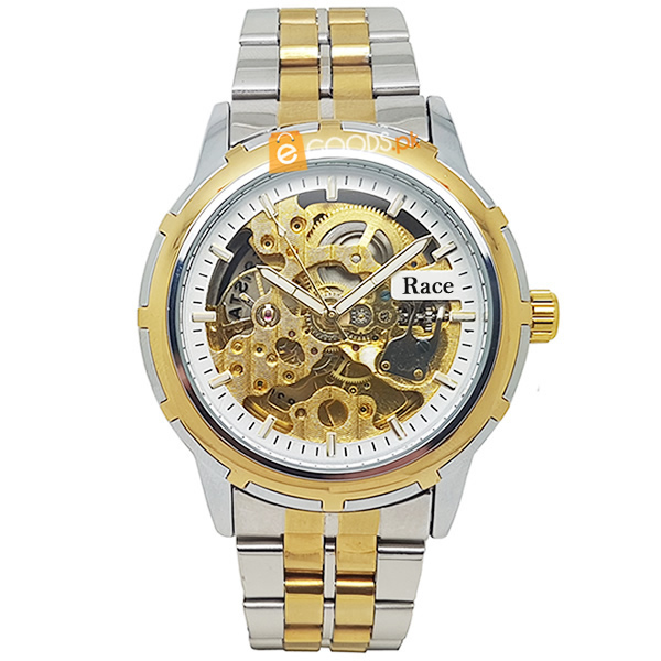 Elegant Mens Skeleton Watch with Golden-Silver Chain