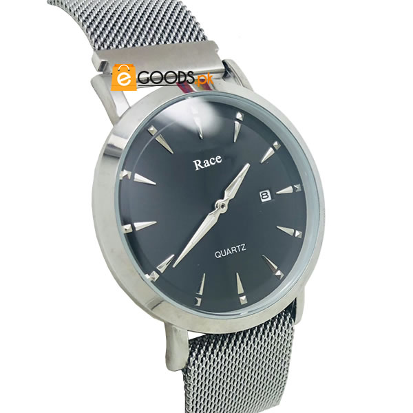 Elegant Men Round Dial and Stainless Steel Chain Watch With Magnetic Lock and Date Functionality